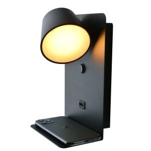 """Aplique de parede LED orientável com interruptor e USB de carga """"BASKOP"""" 6W"""