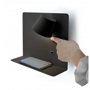 """Aplique de parede giratório """"BASKOP"""" 6W com base de carga USB"""