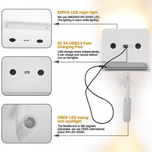 """Aplique de parede LED para leitura """"SLANGE"""" 3W orientável e base de carga USB"""