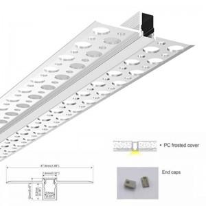 Perfil de alumínio para integrar pladur / placa de gesso 7.8X12 (2m)