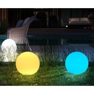 Esfera luminosa LED RGBW RESINA BRANCA, 30CM. 5W, IP65, SEM FIOS