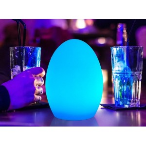 Ovo luminoso LED RGBW, Resina Branca, 14x19cm, 1W, IP65, Sem fios