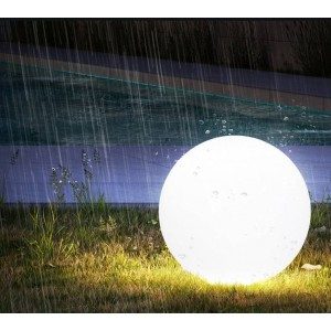 Esfera luminosa LED RGBW RESINA BRANCA, 60CM. 5W, IP65, SEM FIOS