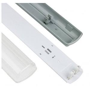 Armadura estanque IP65 para um tubo LED 60cm com conexão de 1 lado
