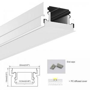 Perfil para fita de LED para encastrar no piso 22x13mm (2m)