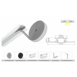 Perfil de alumínio para integração da placa de gesso 30.8x10mm (2m)