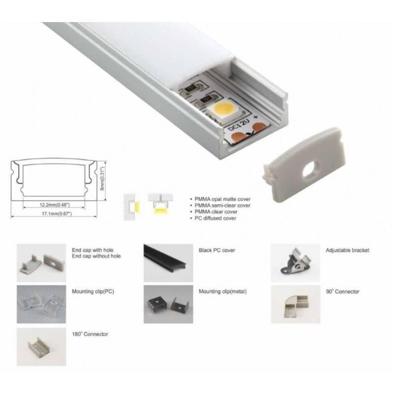 Perfil de alumínio de superfície 17x8mm (2m)