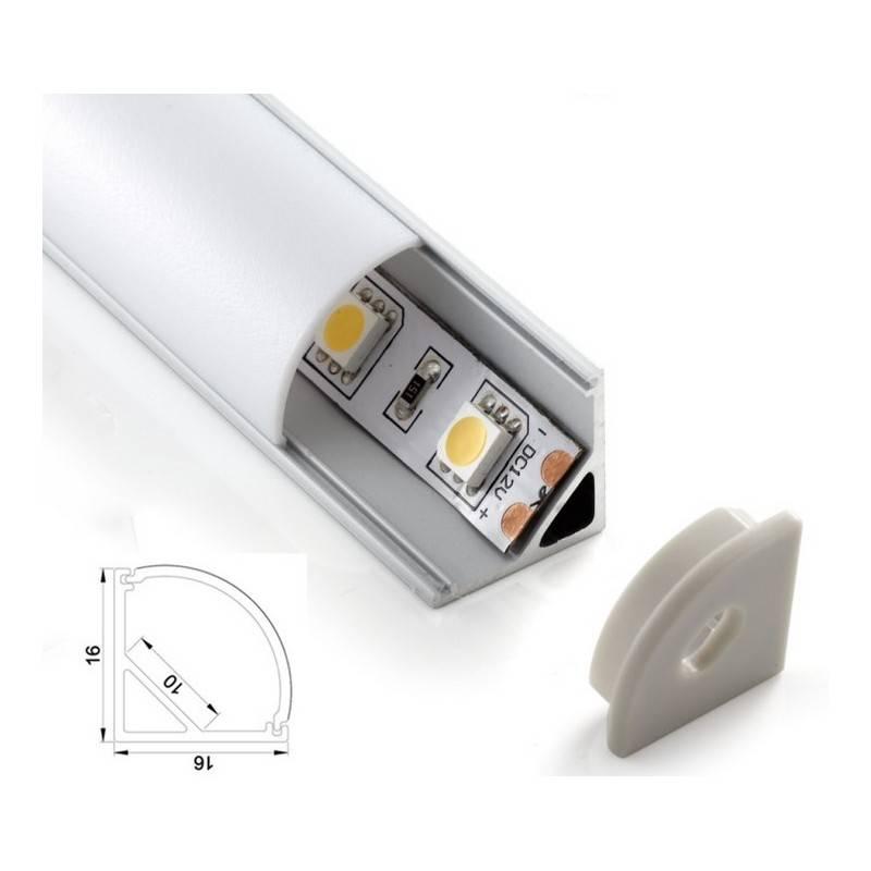 Pack econômico perfil de alumínio de superfície 16x16mm para esquinas e cantos