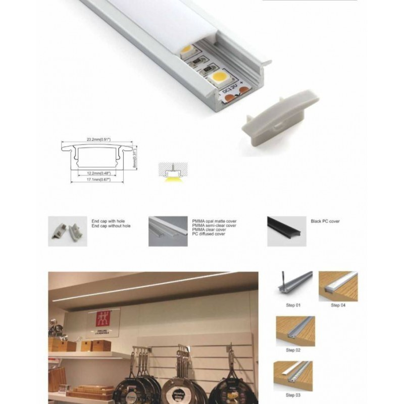 Perfil de alumínio 23x8mm para encastrar 1 ou 2 metros