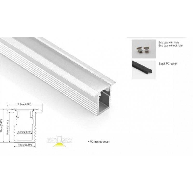 Perfil de alumínio 13x12mm para encastrar (2m) especial para fita LED de 5mm