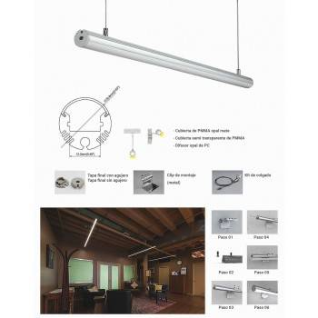 Perfil para pendurar ou superfície diâmetro 21mm (2m)