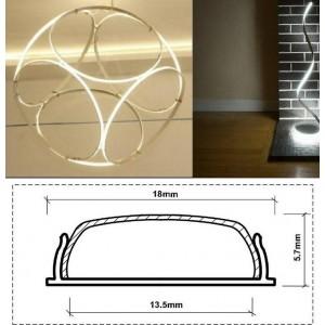 Perfil de alumínio flexível moldável 18x6 superfície (2m)