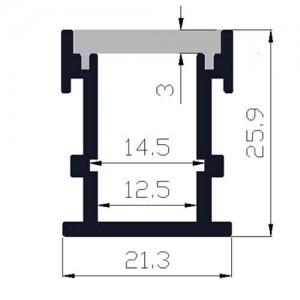 Perfil encastrável em pisos 21x26mm, IP44, resistente ao pisar