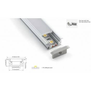 Perfil de alumínio impermeável encastrável chão 27x11mm (2m)