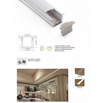 Perfil de alumínio encastrável parede 23x15  mm (2 m)