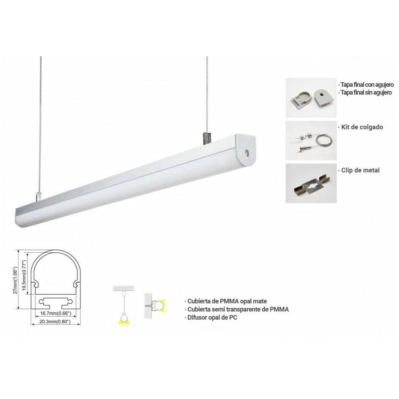 Perfil de suspensão ou superfície 20x27mm para fita LED (2m)