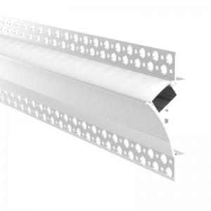 Perfil para fita LED de integração gesso/forro 96x35 Trimless esquina (2m)