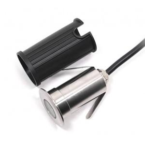 Foco LED encastrável no piso 1,5W 12V-DC branco quente 3000K IP67