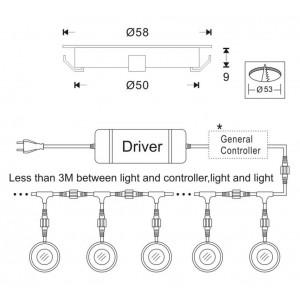 Kit de 6 luzes de piso encastráveis Ø58x9mm 0,5W 12V-DC IP67
