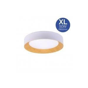 Candeeiro Plafón de teto LED 50W branco + madeira Ø650mm