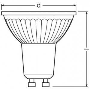 Lâmpada LED dicróica GU10 LED OSRAM PARATHOM GU10 8W dimável 36º