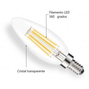 Lâmpada vela LED E14 C35 transparente 4W 3000 °K