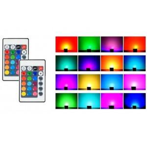 Foco projetor LED RGB 30W IP65 com comando 24 teclas e estaca