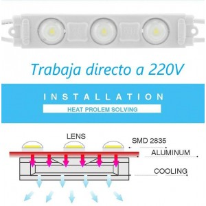 Módulo LED para rotulação 2,5W 230V IP65 120° 6200°K (Un.)