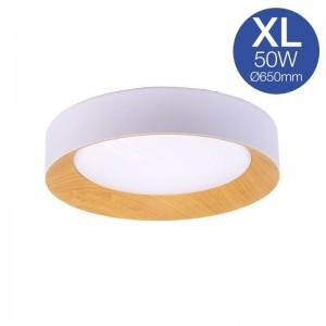 Candeeiro de tecto LED 50W branco + madeira Ø650mm