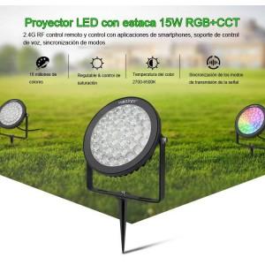 Projetor de jardim LED com estaca 15W RGB + controle CCT RF / WiFi | Mi Light