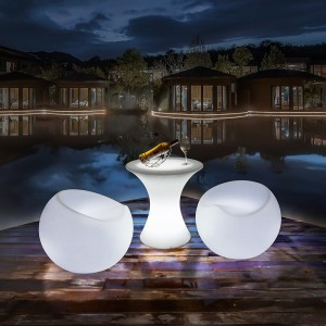 Cadeira iluminada RGBW LED resina branca, 56x46cm 2,4W, IP65, recarregável