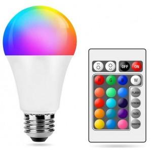Lâmpada LED A60 E27 RGBWW 10W com controlo remoto