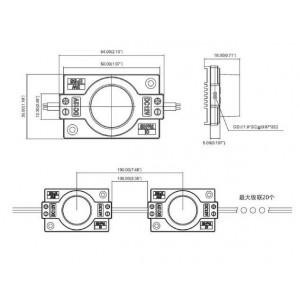 Cadeia de 20 módulos LED para letreiros de fachada SMD3535 3W 12V IP65