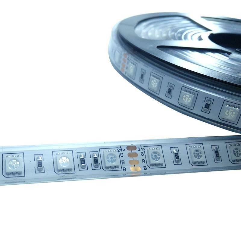 Fita de LED 24V-DC 72W multicor RGB IP67 Rolo 5 metros