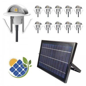 Kit 10 Focos encastráveis solares LED com Painel Solar