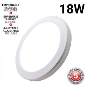 Plafón LED 18W diâmetro ajustável de superfície e encastrável