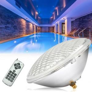 Lâmpada LED PAR56 RGB submergível para piscina 28W IP68 com comando