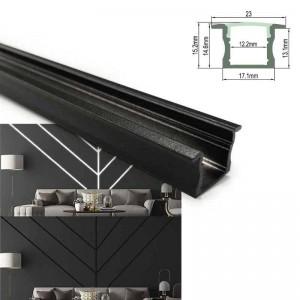 Perfil de alumínio preto para fita LED 23x15mm (2 metros)