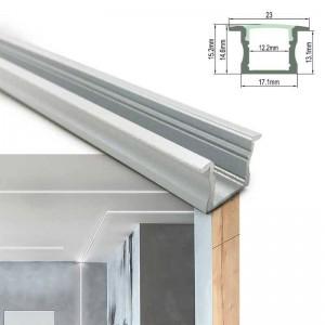 Perfil de aluminio branco para fita LED 23x15mm (2 metros) encastrável