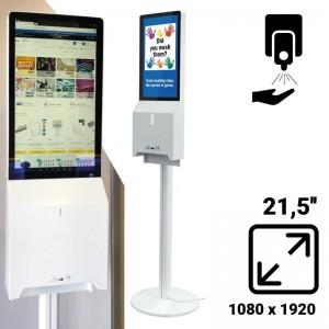 "Display LCD de 21,5"" dispensador automático de gel Antisséptico"
