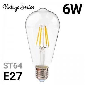 Lâmpada LED de filamento vintage ST64 E27 6W