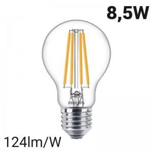 Lâmpada com filamento de LED E27 A60 8.5W | Philips Classic LEDbulb