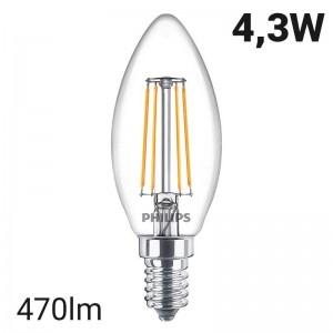 Lâmpada LED vela de filamento E14 B35 4.3W | Vela LED clássica da Philips