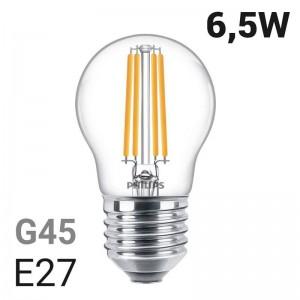 Lâmpada esférica com filamento de LED E27 P45 / G45 6.5W | Philips Classic LEDLuster