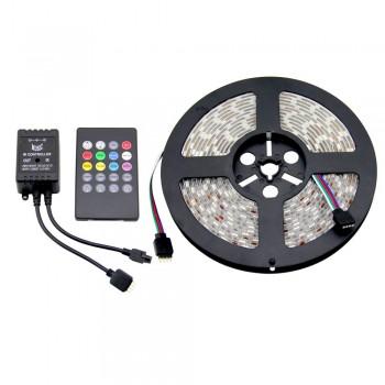 Kit fita LED musical RGB multicor, fonte de alimentação 12V, controlador 24 teclas. Rolo 5 metros