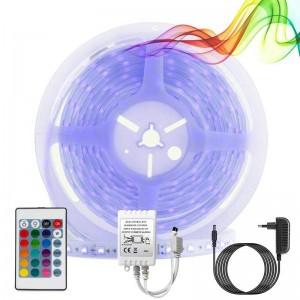 Kit fita LED RGB 5m com fonte, controlador e controlo remoto
