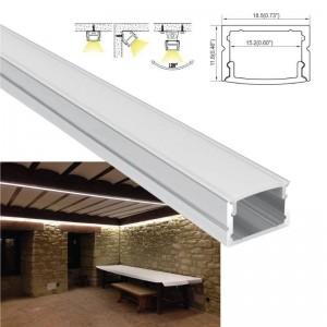 Perfil de alumínio saliente 18x12mm para fita LED