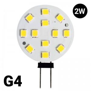 Lâmpada LED G4 Bi-Pin 2W plana 12V-DC/AC