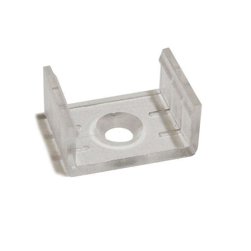 Grampo plástico para fixação de perfis de alumínio de 17mm de largura (1un)