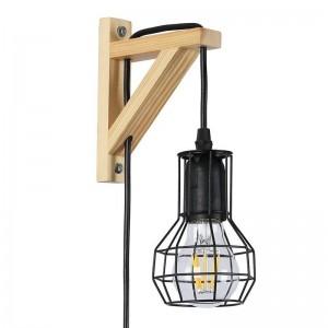 """Aplique de parede de madeira com jaula """"MICA"""" lâmpada LED incluída"""